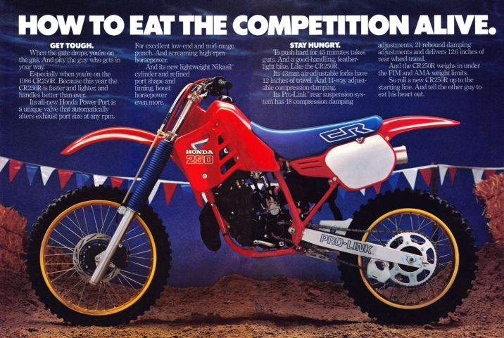 1986 Honda CR125R, CR250R and CR500R Ad Page 2-3