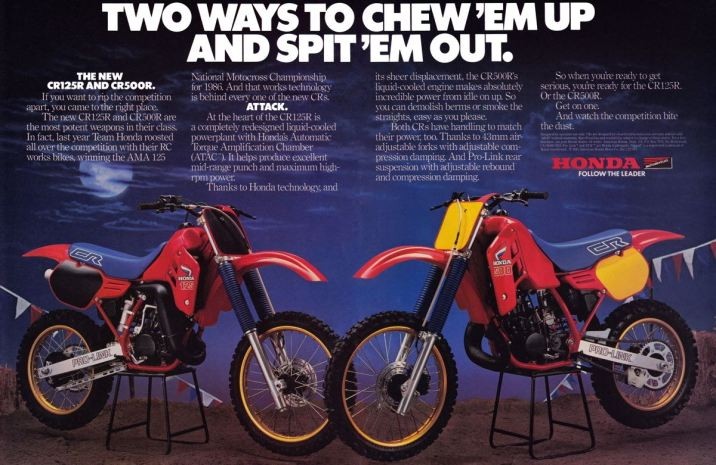 1986 Honda CR125R, CR250R and CR500R Ad Page 4-5