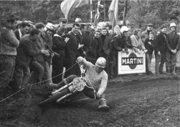 1968 - Joel Robert rounding a berm on his CZ.