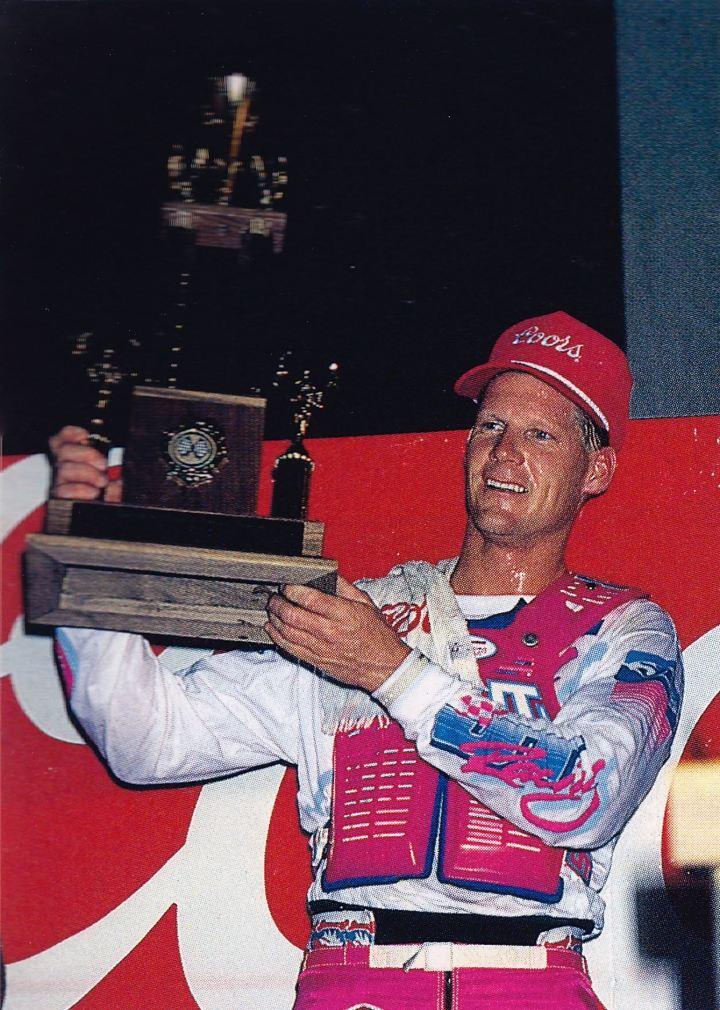 Broc Glover celebrating his win at the Los Angeles Memorial Coliseum in 1988 - Naoyuki Shibata Photo